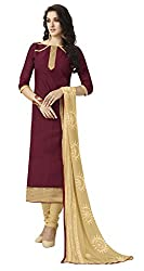 Khoobee Presents South Cotton Dress Material(Maroon,Chikoo)