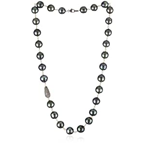 Samira 13 Pave Diamond Accent & Tahitian Pearl Strand Necklace