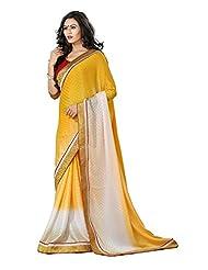 AG Lifestyle Women's Brocade Saree(DVY4015, Yellow)