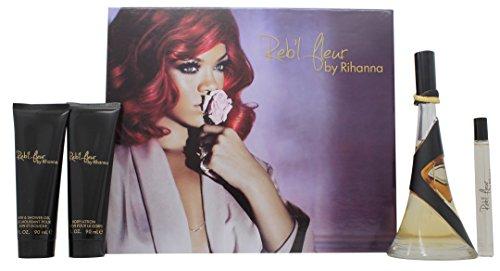 Rihanna Reb'l Fleur Confezione Regalo 100ml EDP + 90ml Lozione Corpo + 90ml Gel Doccia + 10ml Roll-O