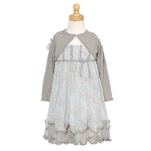 Isobella And Chloe Grey Bolero Paisley Christmas Dress Toddler Girl 4T