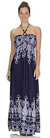 Classic Designs Beaded Halter Maxi Dress in Print Silky DTY Fabric (Sizes S-4X) (M, Navy)