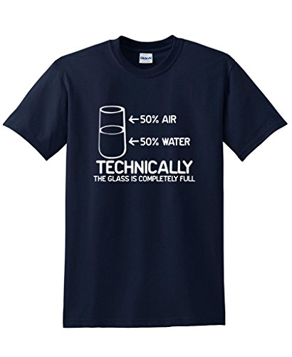 Technically The Glass Is Completely Science Funny T-Shirts M Navy (School Is Cool Shirt compare prices)