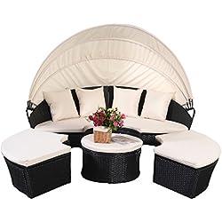 Sonneninsel Poly Rattan Lounge Gartenliege Sonnenliege Gartenmöbel Sitzgarnitur Garnitur inkl. Kissen mit Sonnendach