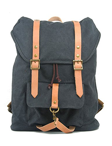 0034f39aa2b7 Leaper Specially High Density Thickened Canvas Backpack Rucksack Schoolbag  travel Bag Dark Gray