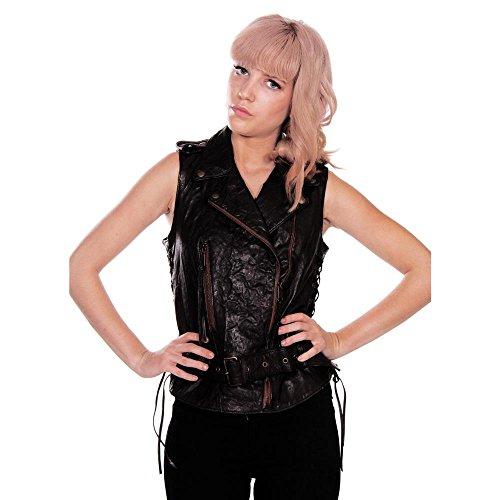 Diesel Women's Leather Vest L-oray Black SM