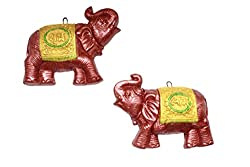 Painted Clay Elephant Shubh Labh Wall Hanging Shubh Labh Wall Dcor