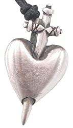 Knife Through Heart Pewter Pendant Necklace