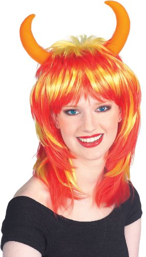 Rubie's Costume Bi-Color Devil Wig with Horns