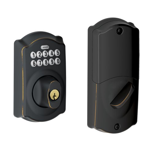 Schlage BE369NX CAM 716 Home Keypad Deadbolt with Nexia Home Intelligence, Aged Bronze (Z-Wave)