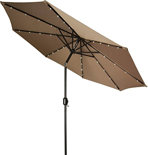 Trademark Innovations Deluxe Solar Powered Led Lighted Patio Umbrella, 9-Feet, Tan
