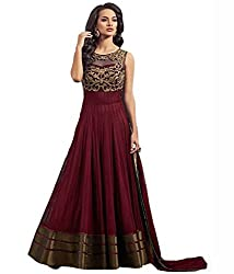 Shree Hans Creation Maroon Georgette Embroidered Dress Material