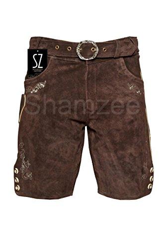 SHAMZEE Trachten Lederhose in Braun farbe inklusive Gürtel Echt Leder SHAMZEE lederhosen Gr. 46-62 thumbnail