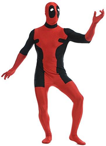 Seeksmile Unisex Lycra Spandex Zentai Halloween Cosplay Costumes Deadpool (Large, Red)