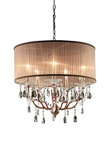ORE International Rosie Crystal 5-Light Ceiling Lamp, Rose/Copper