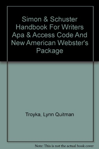Simon & Schuster Handbook For Writiers Apa & Access Code And New American Webster's Package