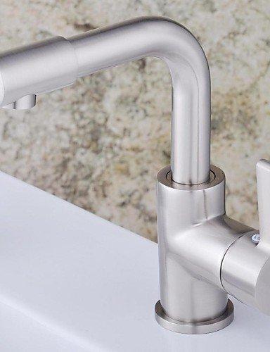 rubinetto finitura nichel contemporanea singola maniglia singolo foro in ottone lavandino rubinetto del bagno