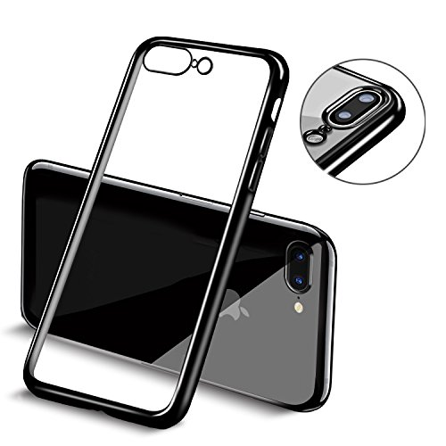 Cover iPhone 7 Plus, Mture iPhone 7 Plus Custodia Bumper Case Cover Chiaro Cristallo Ultra-Sottile Slim fit Trasparente Placcatura TPU Silicone Antigraffio Custodia per iPhone 7 Plus (Nero opaco)