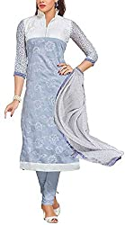 Binny Creation Women's Faux Georgette Unstitched Dress Material (Grey)