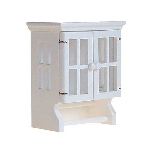 Dollhouse Miniature White Cabinet with Towel Bars