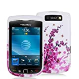 Electromaster(TM) Brand - Pink White Spring Flower Design Crystal Hard Skin Case Cover for Blackberry Torch 9810