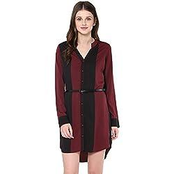 STYLEBAY Women Maroon Crepe Shirt Dress (CSD001, Small)