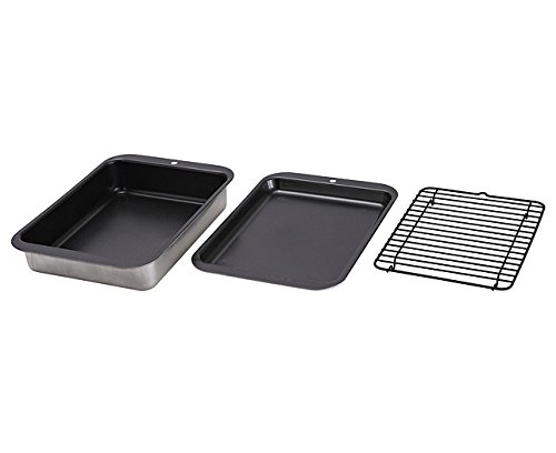 3 Pc Enamel Oven Baking Tray Deep Pan Dish Tin Sheets Set Non Stick Basting Bags