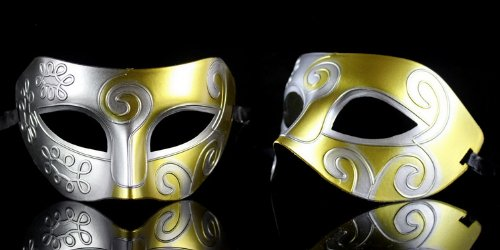 Retro Roman gladiator Halloween party masks man woman children Mardi Gras Masquerade mask- silver & gold
