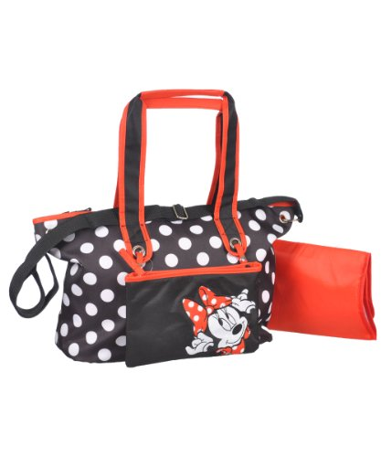 Disney Polka Dot Diaper Bag with Minnie Mouse Zip Pouch, Black/White, Large - 1