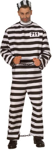 Rubies Halloween Adult Prisoner Man Costume Xlarge Jacket Size 44-46 Black & White