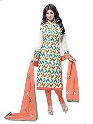 Metroz White Chanderi Cottton Embroidered Straight Salwar Kameez with Dupatta