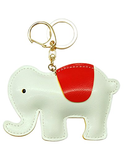 Young & Forever Lucky Elephant Handmade Leather Bag Charm Key Ring & Keychain White By CrazeeMania - B00L7Z2GMW