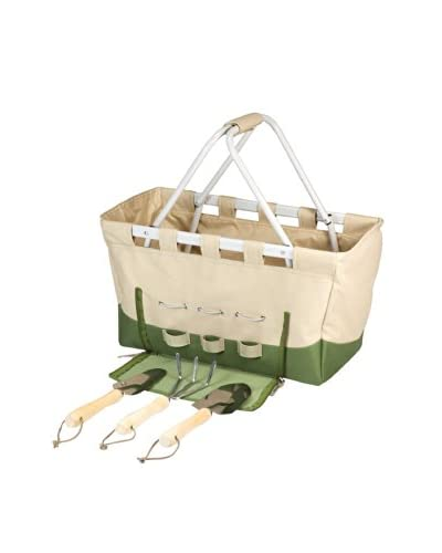 Picnic Time Garden Metro Basket With Tools, Tan/Olive Green