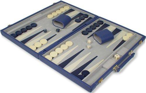 Blue Leatherette Deluxe Backgammon Set - Small Attache