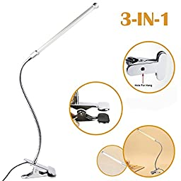Leadleds 6W 5V USB LED Desk Lamp Table Light Book Reading Light Eye Protection, 2 Modes of Adjustable Brightness, with Flexible Gooseneck and Clamp(Metal Made, Soft light and White Light Convertible)