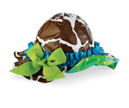 Mud Pie Wild Child Giraffe Rain Hat, Brown/White/Green/Blue, 12-18 Months