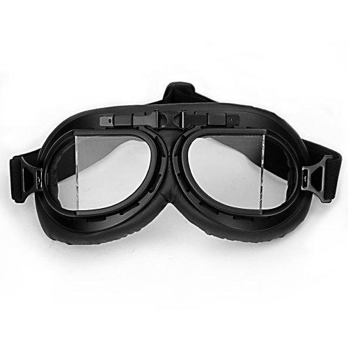 Wwii Raf Vintage Pilot Style Black Frame Motorcycle Biker Café Racer Cruiser Helmet Goggles front-949912