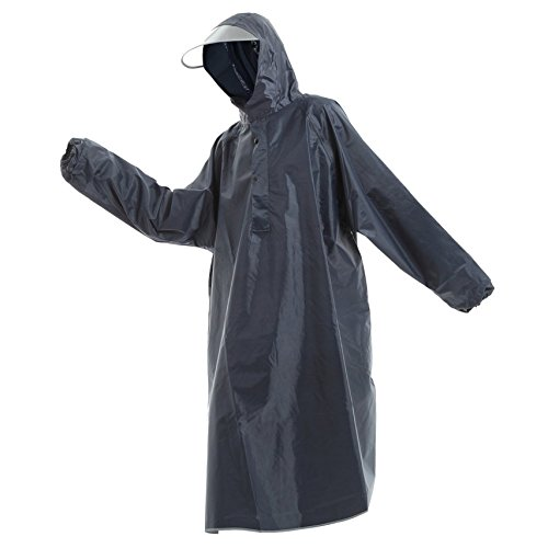 Raincoat with poncho type sleeves color 5 color [blue/red/yellow/Navy/Pink] men and women cum for one size fits all (Navy ( dark ))