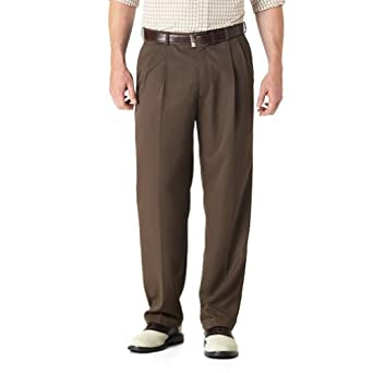 Haggar Big and Tall Mynx Gabardine Flex-Waist Pleated Dress Pant - Oak Brown