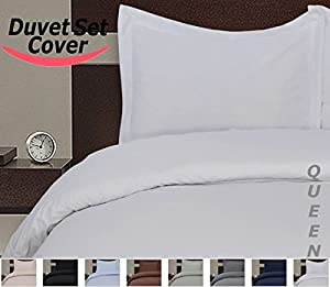 Utopia Bedding Luxury Duvet Cover Set, 3-piece Set Includes Duvet Cover and 2 Matching Pillow Cases, Brushed Microfiber, Maximum Softness and Easy Care, Elegant Double-Stitched Tailoring (Queen, White)