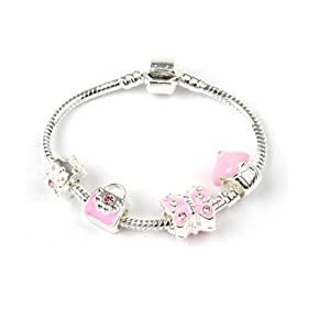 bling rocks childrens pretty in pink silver butterfly