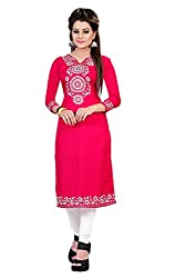 Vidhya Present's Women's American Crepe Printed Beautiful Unstitched Kurti(Pink_Free Size)