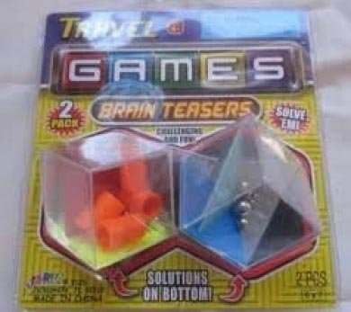 Ja-ru Travel Game Brain Teasers 2 Per Pack Challenging and Fun - 1