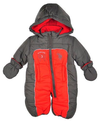 """U.S. Polo Assn. """"Mallet Crest"""" 1-Piece Snowsuit (Sizes 3M - 9M) - charcoal, 6 - 9 months"""