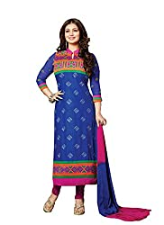 Zbuy Blue Cotton Embroidered Unstitched Dress Material