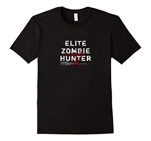 Men's Elite Zombie Hunter T-shirt Awesome Zombie Costume Shirt 3XL Black (Hunter Mens Costume)