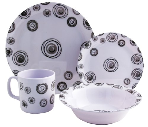 Royal Swirl 16 Piece Melamine Tableware Set camping, caravanning.