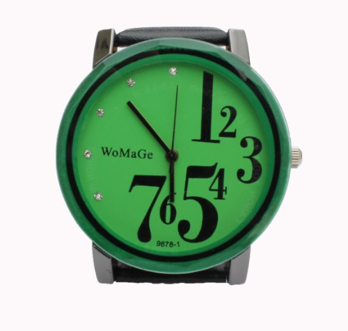 Green Womage Fashion Watch  Leather Strap and