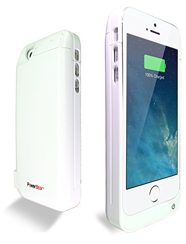 PowerBear® Stamina Series iPhone 5 / 5s / 5c Extended Rechargeable Battery Power Case with Built in PowerBank - White  comes with Free Screen Protector