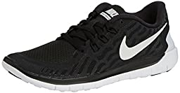 Nike Kids Free 5.0 Black/White/Dark Grey/Cl Grey Running Shoe 3.5 Kids US